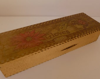 Antique Art Nouveau Pyrography Burn-Out Glove Box