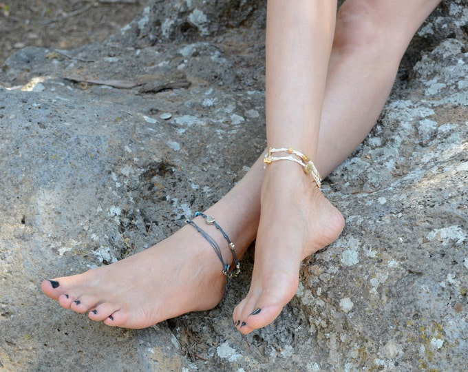 Camel Double Wrap Ties and Charms Anklet for Good Luck and Protection