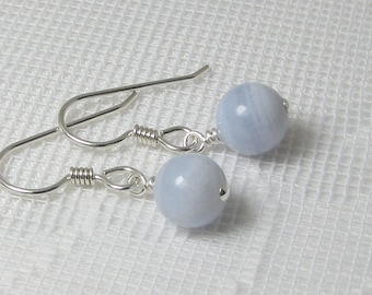 Bold Blue Lace Agate and Sterling Silver Earrings