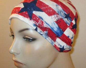 Chemo Hat Beanie Red White Blue Sleep Cap, Cancer Hat, Alopecia