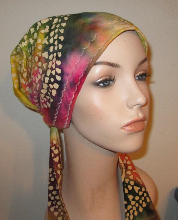 Colorful Batik Print   Chemo Hat, Cancer Scarf, Surgical Scrub Hat, Turban, Hair Loss Free Ship USA