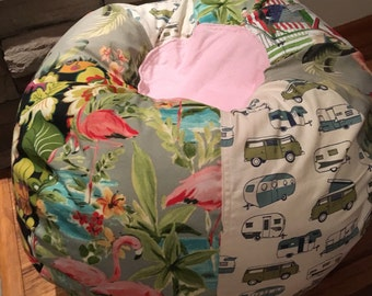 NEW VW pop top westfalia and flamingo Tropical Beach Bean Bag Chair  Unfilled with Cover and Liner