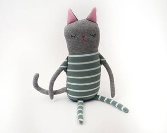 "Cat Sleepy Kitty in Pajamas ""Pinta"" Cotton Monster Plush"