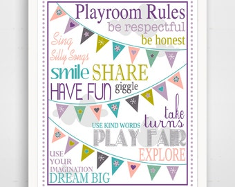 Kids Wall Art / Nursery Decor Playroom Rules with Bunting ... print by Finny and Zook