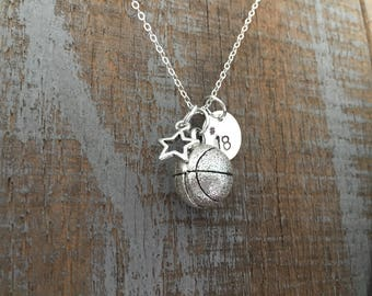 Basketball Charm Stamped Necklace
