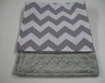 Gray Medium Chevron Baby Burp Cloth with Minky On Sale