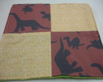 Brown Dinosaurs Four Square Baby Minky Burp Cloth 12 x 12 READY TO SHIP On Sale