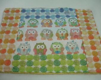 Short Legged Owls Minky Burp Cloth 11 x 14 READY TO SHIP On Sale