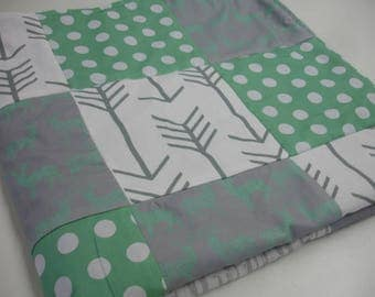 Meadow Deer Mint and Gray Minky Baby Blanket 32 x 32 READY TO SHIP On Sale