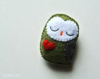 Owl Brooch Handmade Christmas Holiday Gift for Co-worker Cute Owl Fashion Accessory Felt Owl Stuffed Animal Stocking Stuffer One of a Kind
