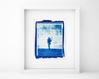 Cyanotype, Bagpipe Player, Large Wall Art, Large, Portrait, Original, Home, Large art cheap, Fine Art Gift, Musician, Photography, Art, SALE