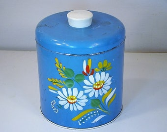 Vintage Tin Vintage Ransburg Tin Vintage Ransburg Canister Blue Floral Tin Handpainted Ransburg Tin Shabby Chic Decor  Tin Floral Pattern