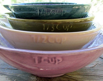 You design custom ceramic pottery nesting measuring cups baking cooking set of 4 custom pottery chef cooking anniversary home gift rustic
