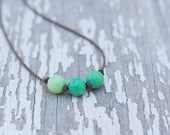 grass agate knotted necklace / handspun ROPE / waterproof / kid-proof / life-proof / island jewelry / minimalist beauty / tula blue