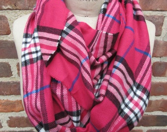 plaid infinity scarf Raspberry neck wrap pink Tartan cowl soft Flannel loop cozy Boho chic Warm winter Muffler Checkered Preppy Accessory