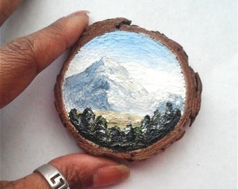 """Mini Oil Painting Landscape Mountains on Wood Slice 2.75"""" READY TO SHIP"""