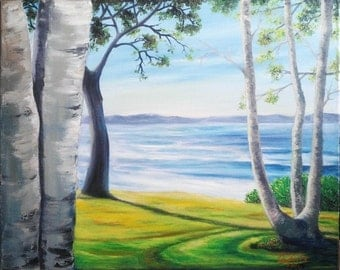 """Oil Painting Trees by the River Landscape 16""""x 20"""" READY to SHIP"""