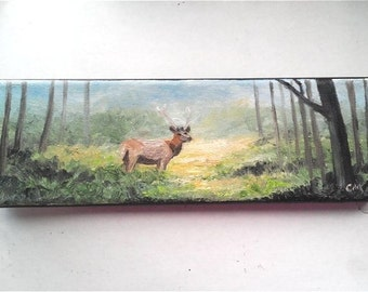 """Oil Painting Sunset Forest Buck Deer 3"""" x 9"""" READY to SHIP"""