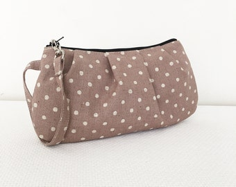 Pleated Wristlet Zipper Pouch // Clutch - Canvas Natural Small Dots in Ash
