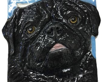 PUG Dog Ceramic Portrait Sculpture 3d Dog Art Tile Plaque FUNCTIONAL ART by Sondra Alexander In Stock