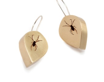 Spider Shadowbox Earrings in Brass and Sterling Silver