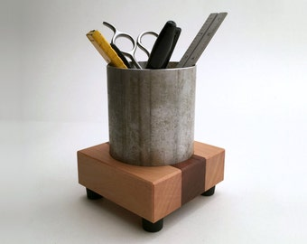 Pencil Cup Office Organizer Office Decor Made from Reclaimed Wood