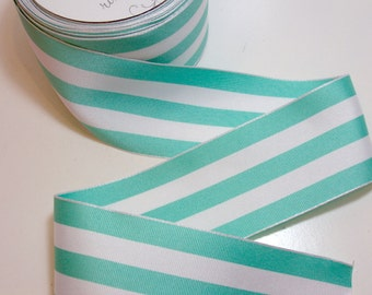 Wired Ribbon, Sea Green and White Stripe Grosgrain Wired Fabric Ribbon 2 1/2 inches wide x 5 yards, Offray Mono Stripe Ribbon