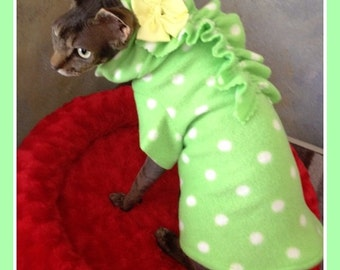 Sphynxter Cat  Pet Clothing Pink Fleece Hole in One All Done and Ready To Ship