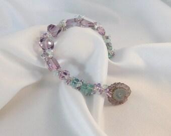 Amethyst and Aquamarine Bracelet- Solar Quartz - Solar Quartz Bracelet - Amethyst Bracelet- Aquamarine Bracelet - Pearl Bracelet