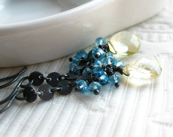 Sunshine and Rain - Blue Topaz gemstone clusters over Lemon Quartz briolettes, blackened sterling silver