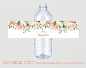 Floral Water Bottle Label...