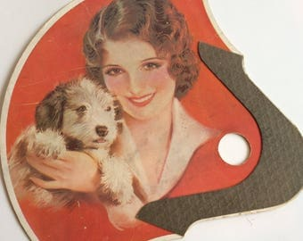 Art Deco Advertising Fan Girl & Dog Fulton National Bank Ohio Stickless Fan