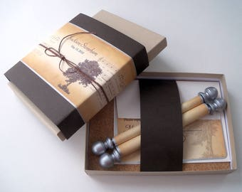 Bar Mitzvah boxed scroll invitation suite,  brown invitation suite with cork, rustic invitations with oak tree, set of 100