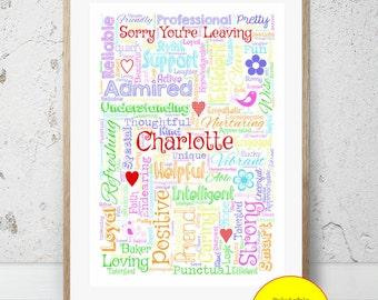 JPEG - Printable - Sorry You're Leaving - New Job - Retirement - Personalised - Word Art - Custom - DIY Print - Colour Wording