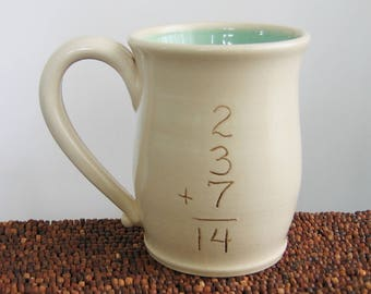 Funny Mug, Incorrect Math Mug in Mint Green 12 oz. Ceramic Mug for Geeks or Teachers, Gag Gift, Graduation Gift, Back to School