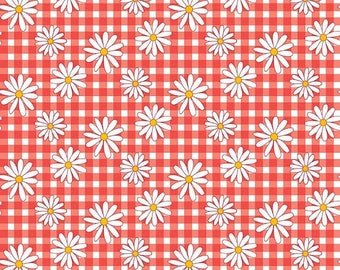 ON SALE Penny Rose Fabrics Gingham Girls By Amy Smart Daisy Red