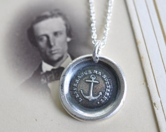 anchor necklace - anchor wax seal necklace - hope sustains me - French - hope, salvation - inspirational gift - antique wax seal jewelry