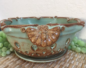 Butterfly Ceramic Colander Berry Bowl - Large Strainer - Kitchen Colander - Ceramic Kitchenware