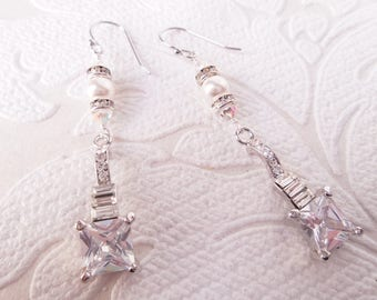Art Deco Drop Earrings with Swarovski Crystal Rhinestones and Pearl for Vintage Glam Wedding or Victorian Prom OOAK