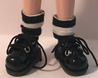 Black And White Wide Striped Short Socks...For Blythe...