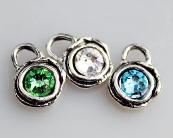 Birthstone Charms Sterling and Swarovski Crystals BS1