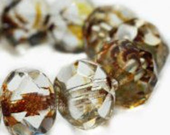 Czech Glass Rondells 8 mm  Transparent Picasso Beads 025/0711