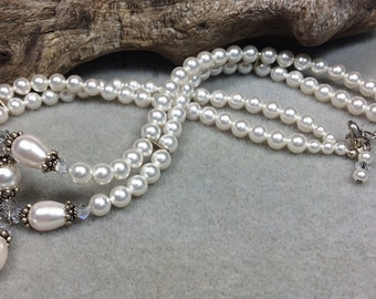 Swarovski Pearl, Crystal and Sterling Silver Choker Necklace
