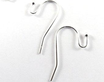 20 Silver Hook Earwire Plated Brass LF/CF 22x11mm 21 Gauge - 10 pr - F4114EW-S20