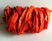 Silk Sari Ribbon-Recycled Orange Sari Ribbon-10 Yards