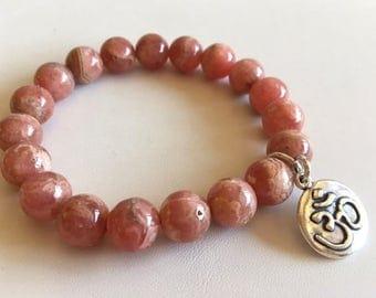 Rhodonite Energy Bracelet With Ohm Charm-Gemstone Bracelet-Gift For Mom