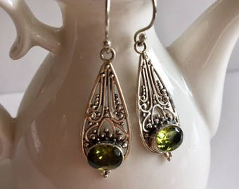 Peridot Gemstone Earrings With Sterling Silver-Peridot Earrings