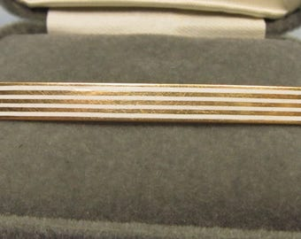 Enameled 14Kt Gold Bar Pin