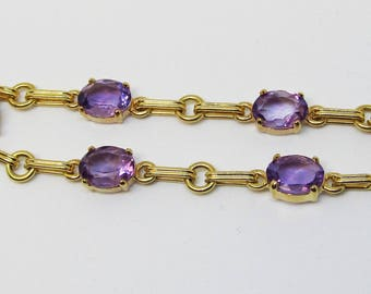 Amethyst and 14Kt Yellow Gold Bracelet