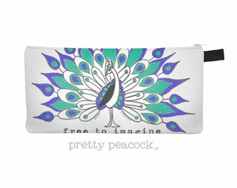 Free to Imagine Peacock Zippered Pouch